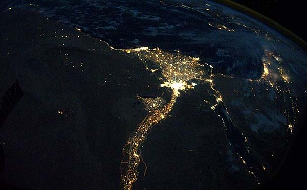 Lights on Earth visible from space